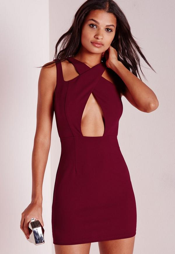 Cross Over Bodycon Dress Oxblood