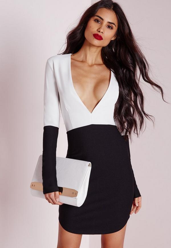 Long Sleeve Monochrome Bodycon Dress