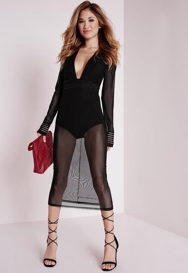 Plunge Long Sleeve Mesh Trim Midi Dress Black
