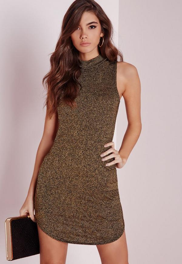 Sleeveless Bodycon Dress Bronze