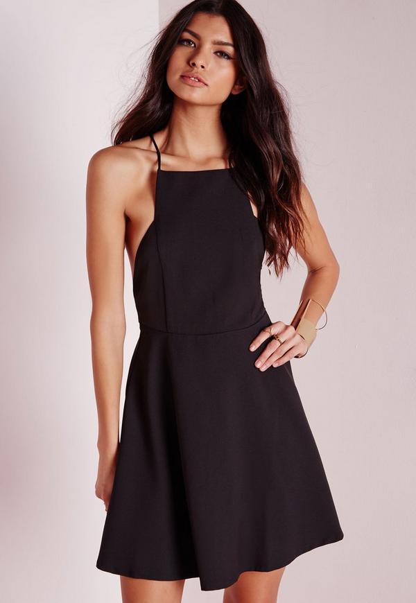 Square Neck Skater Dress Black