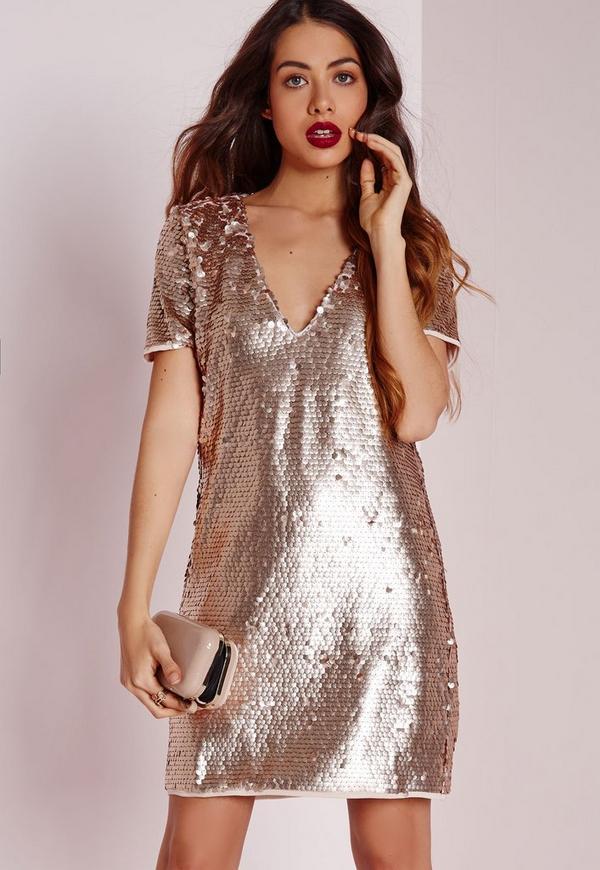 Sequin Plunge Shift Dress Gold