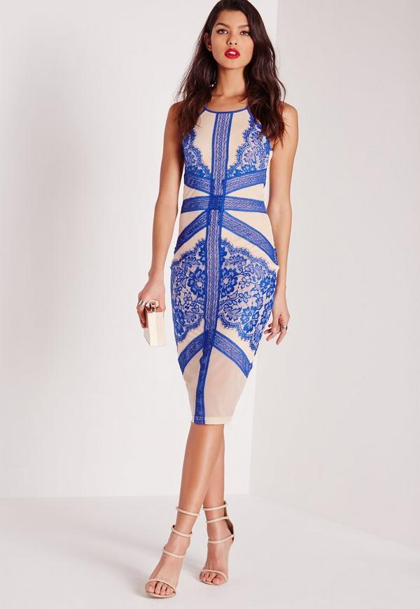 Cobalt Lace Trim Midi Dress Nude