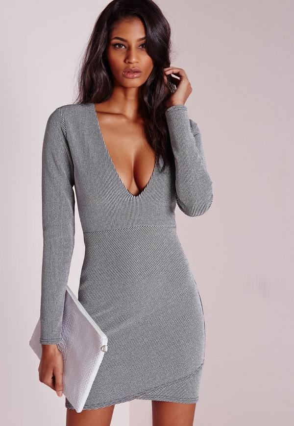 Wrap Over Bodycon Dress Silver