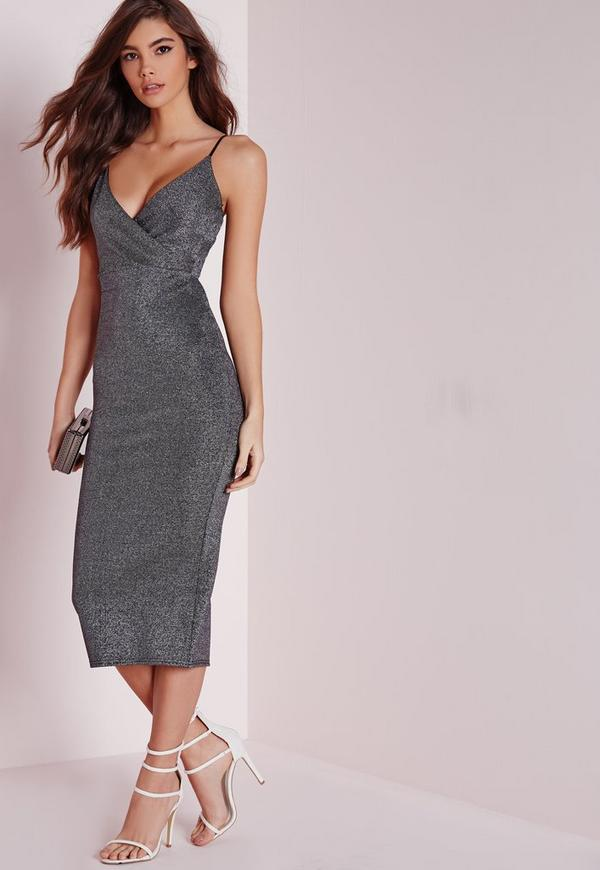 Strappy Midi Dress Silver