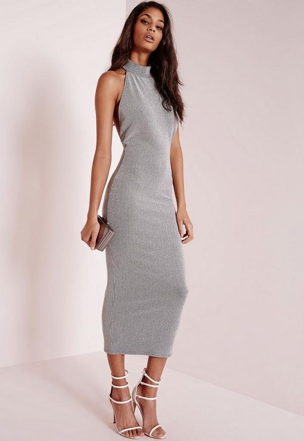 High Neck Midi Dress Silver