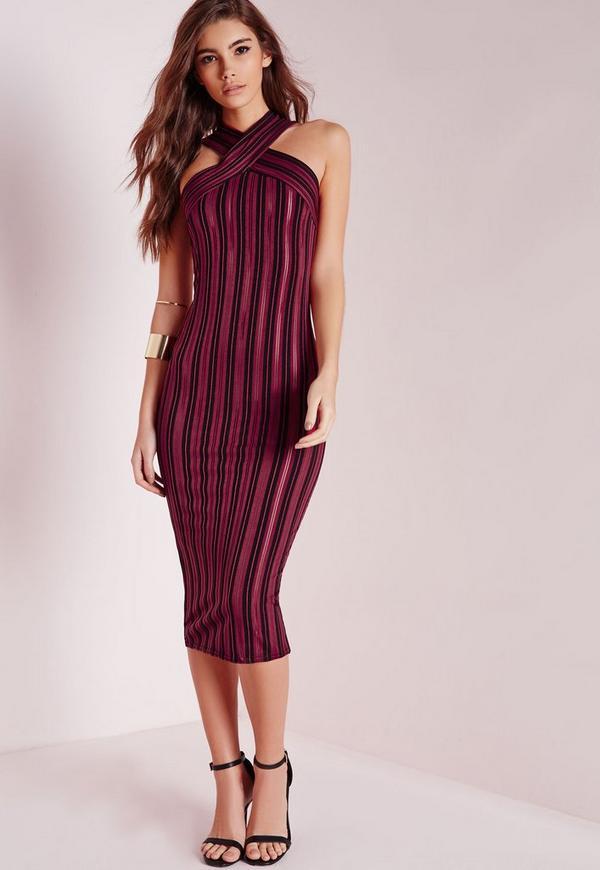 Striped Midi Dress Black/Burgundy