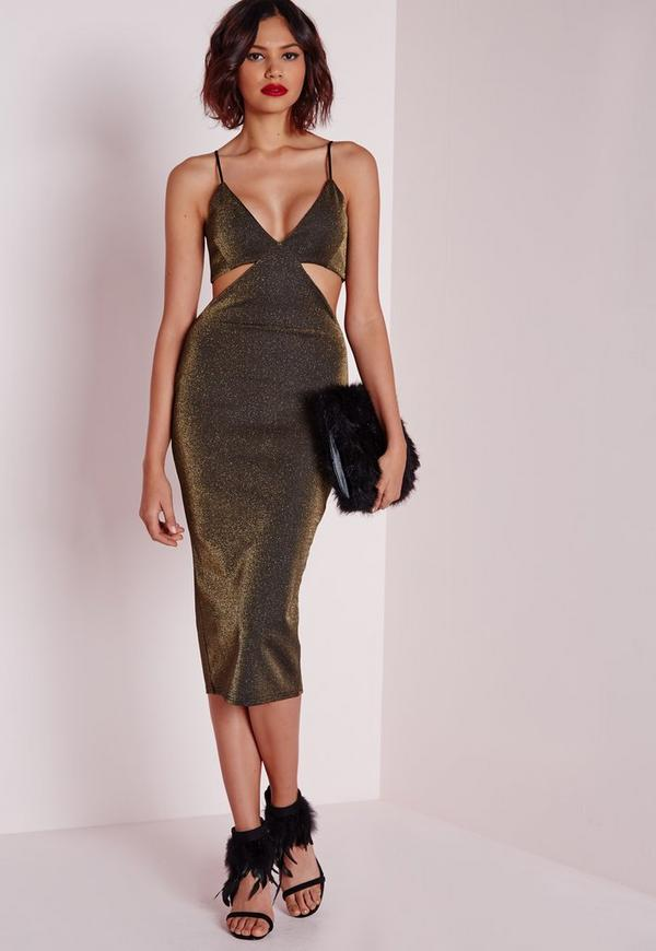 Cut Out Midi Dress Copper