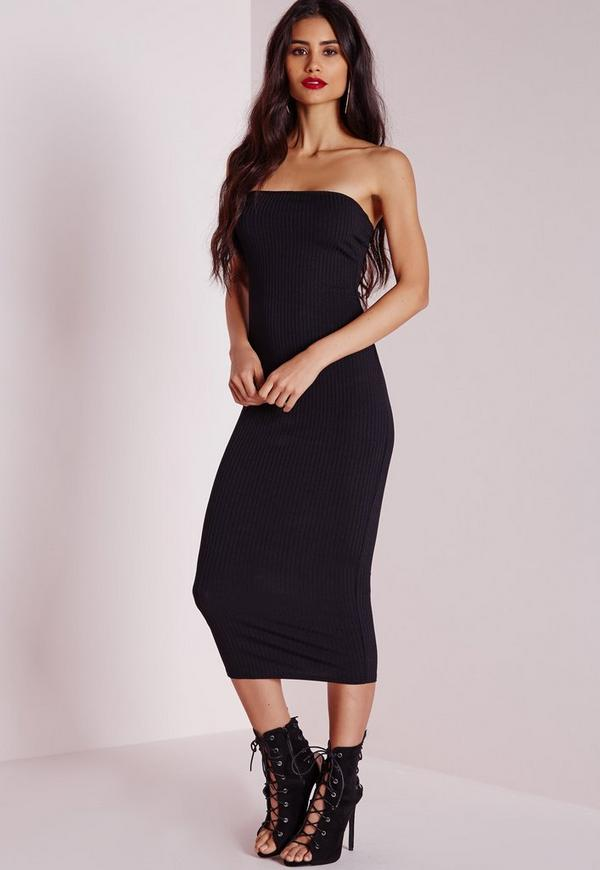 Ribbed Bandeau Bodycon Dress Black