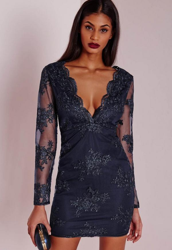 Premium Plunge Embroidered Lace Bodycon Dress Navy