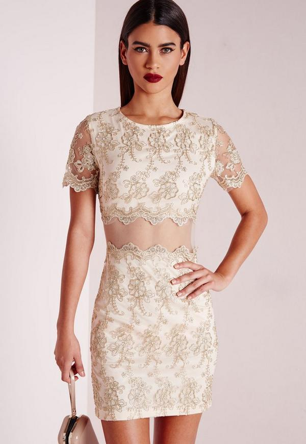 Premium embroidered Lace Mini Dress Gold
