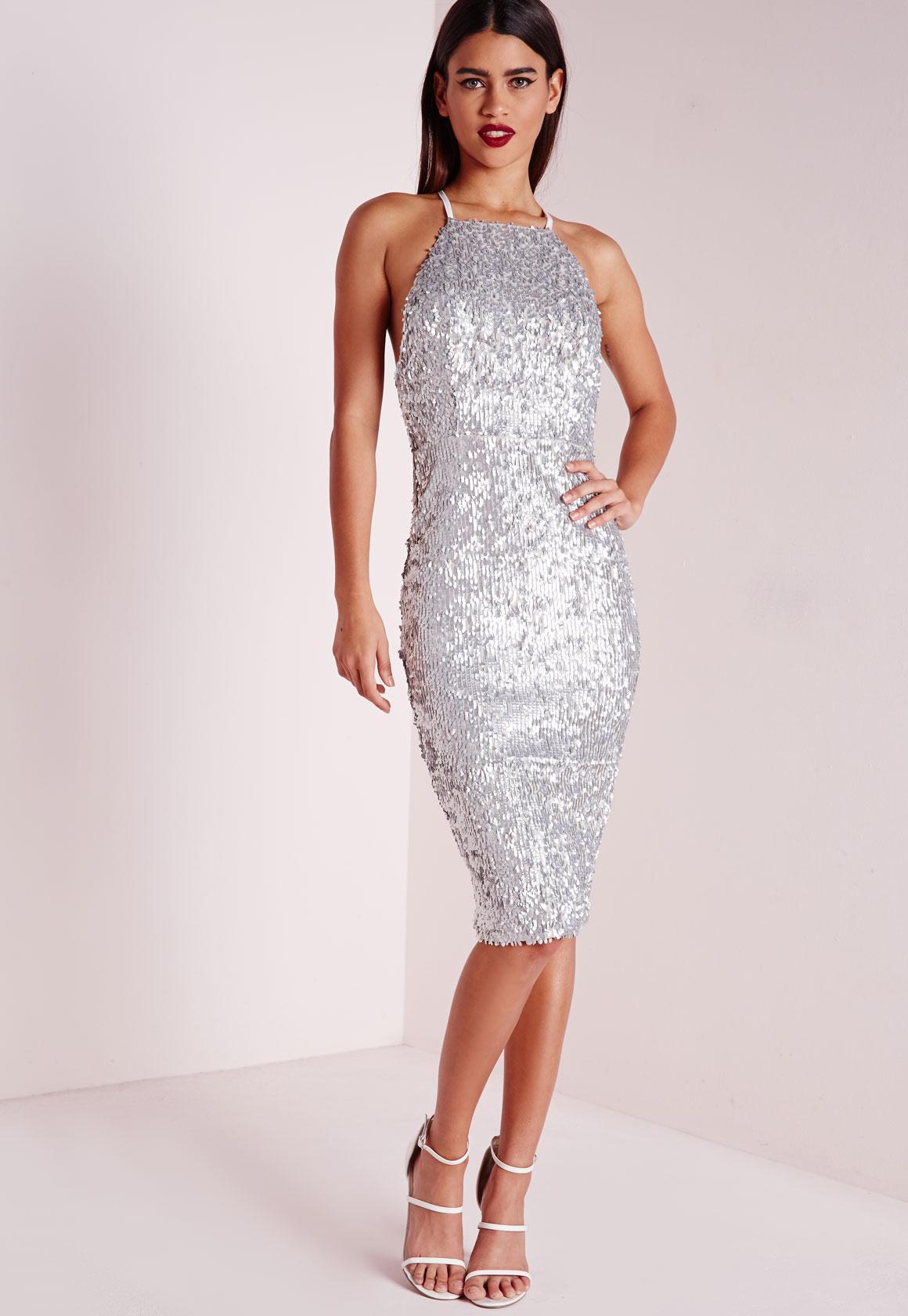 Premium Matte Sequin Midi Dress Silver | Missguided