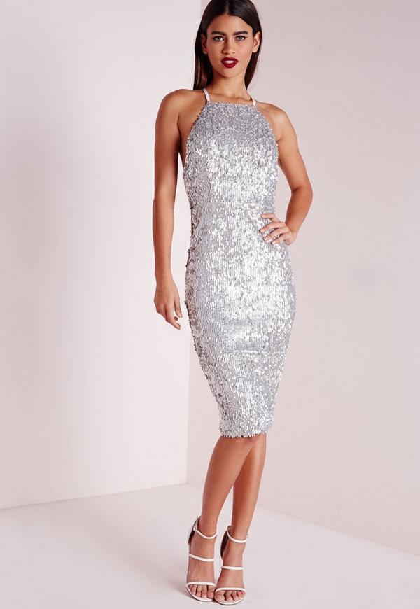Premium Matte Sequin Midi Dress Silver