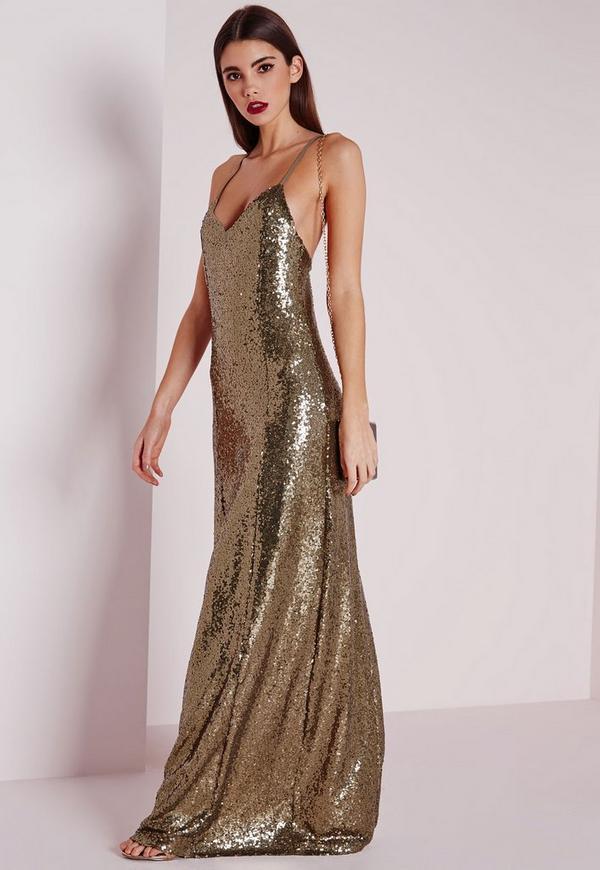 Premium Sequin Maxi Dress Bronze | Missguided