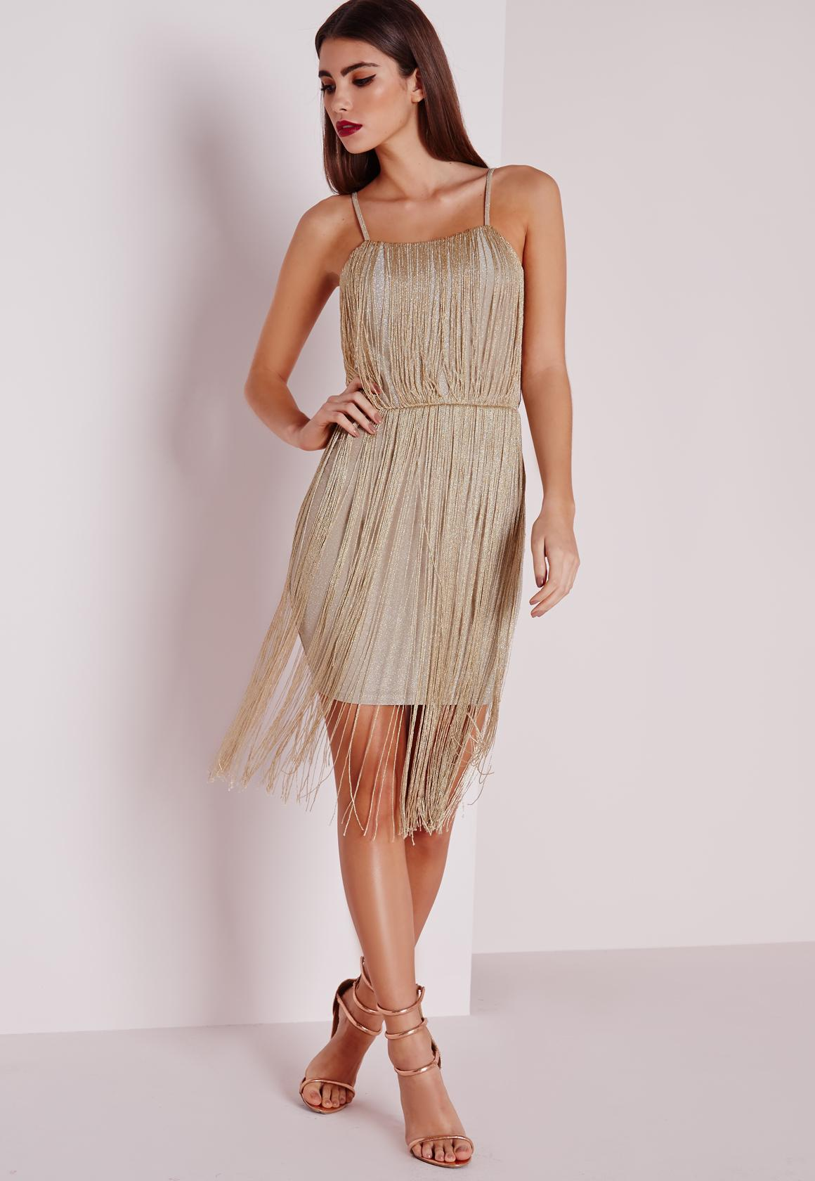 Premium metallic Fringe Dress Gold | Missguided