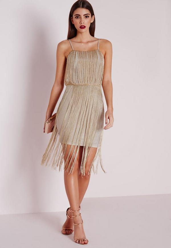 Premium Metallic Fringe Dress Gold