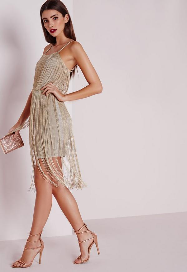 Gold Metallic Fringe Dress