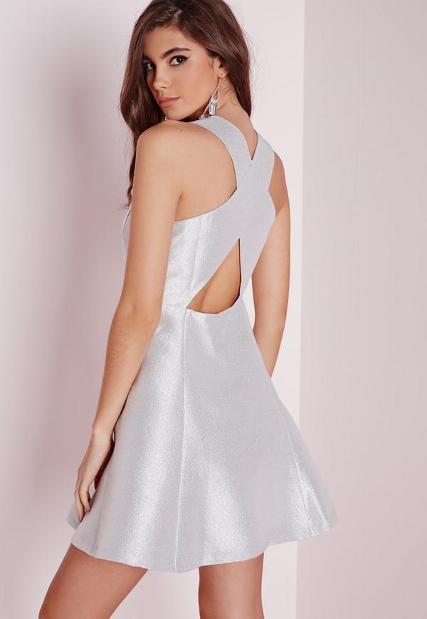 Glitter Skater Dress Silver