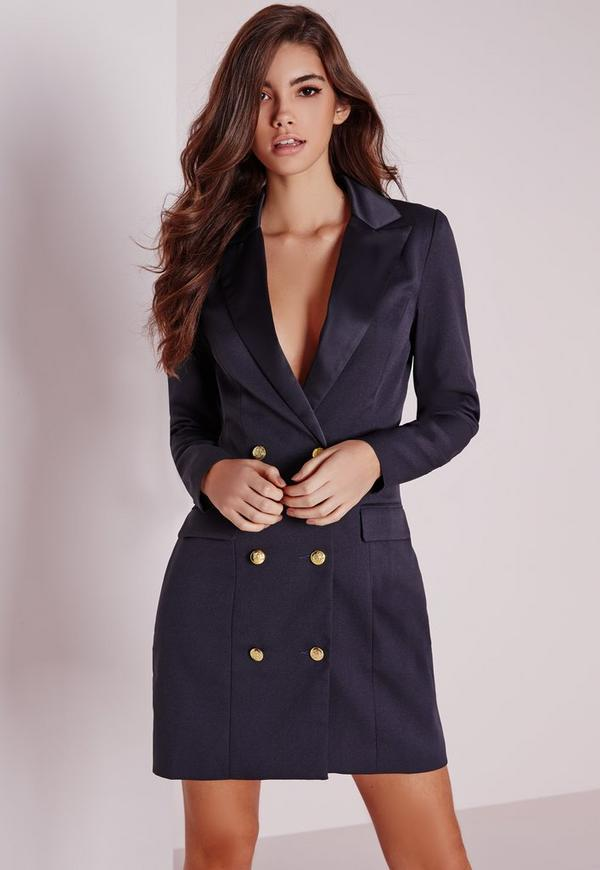 long sleeve tuxedo dress navy