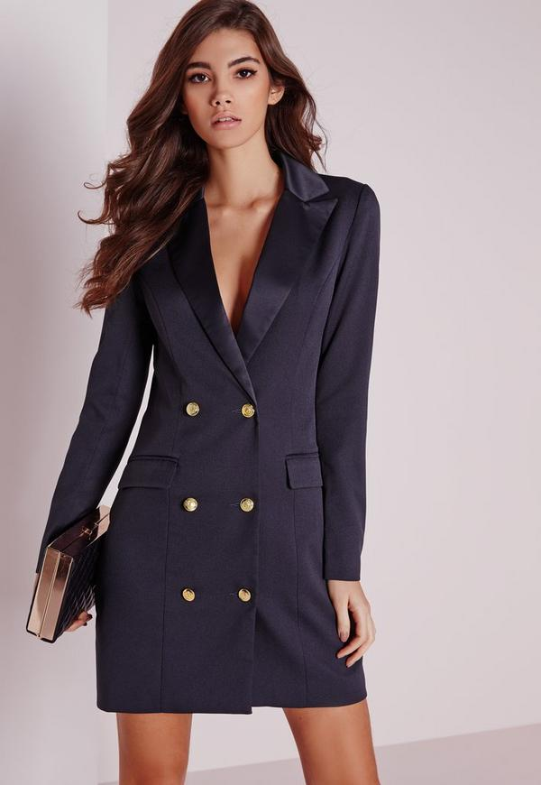 long sleeve tuxedo dress navy | Missguided