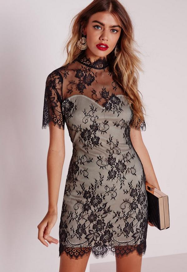 Lace Short Sleeve Bodycon Dress Black