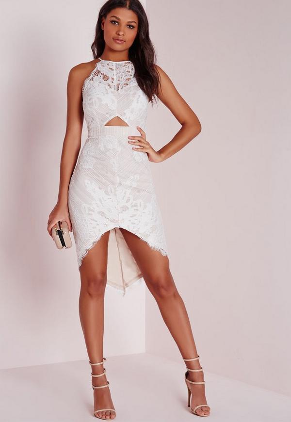 Lace Curve Hem Midi Dress White/Nude
