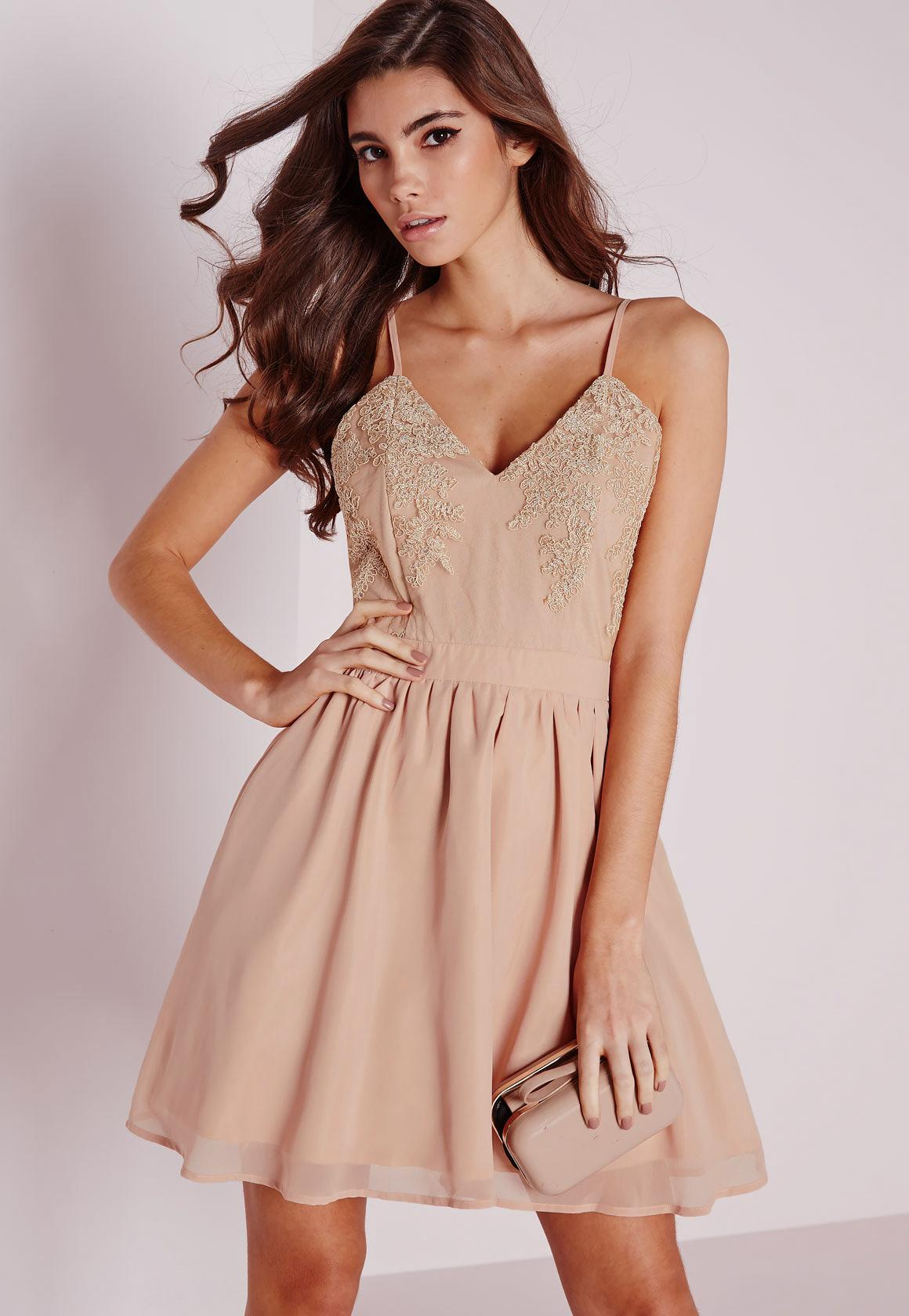Lace Top Chiffon Skater Dress Nude | Missguided