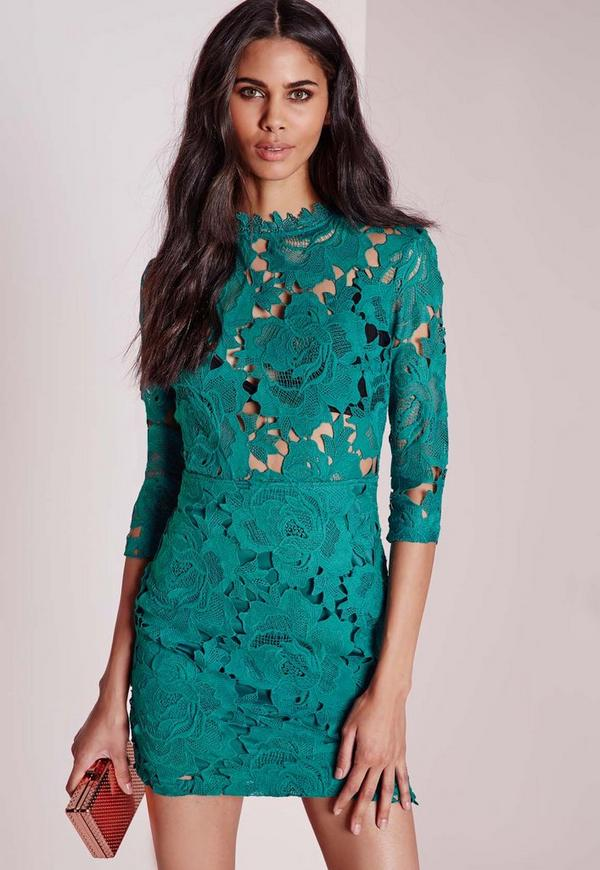 Lace High Neck Bodycon Dress Teal