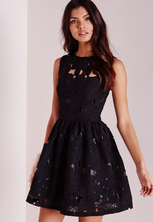 Lace Skater Dress Black