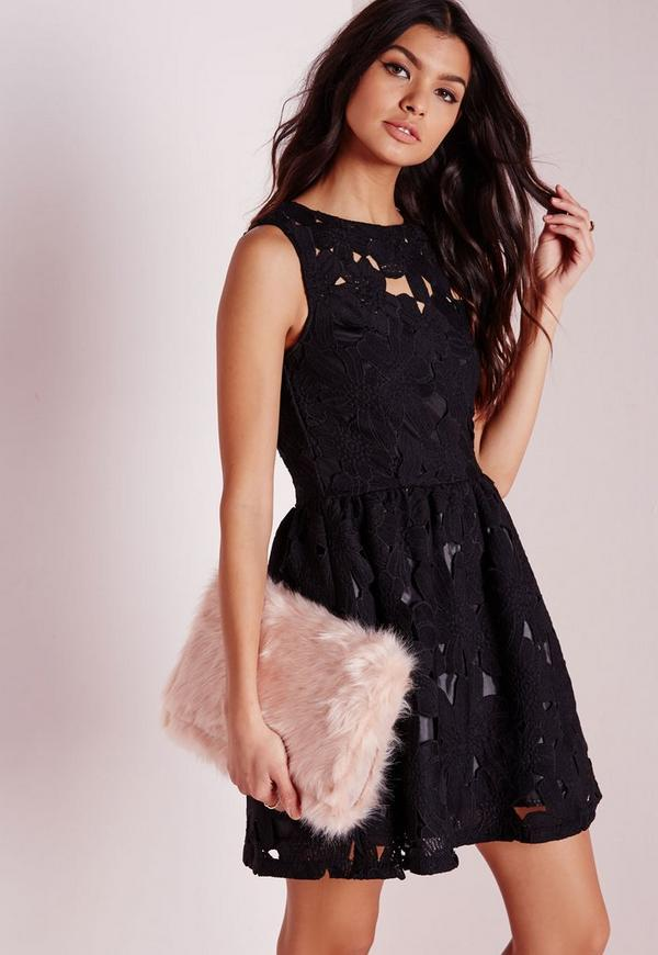 Lace Skater Dress Black - Missguided
