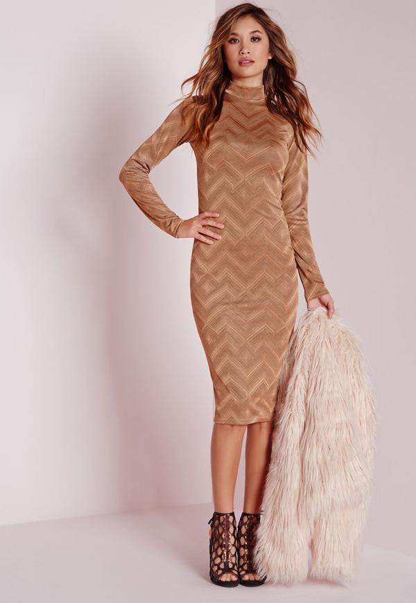 High Neck Midi Dress Gold
