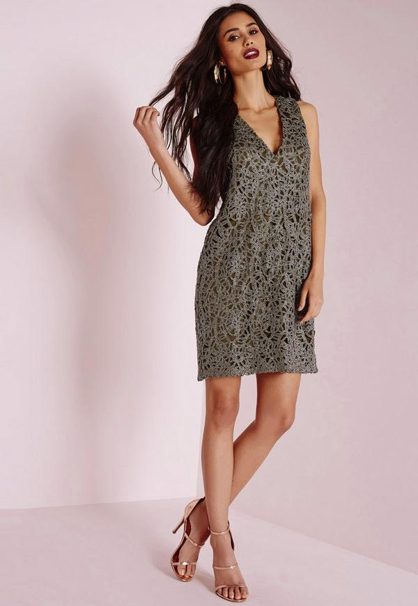 Metallic Trim Shift Dress Khaki