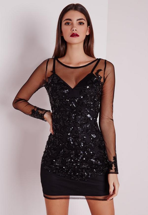Premium Embellished Long Sleeve Mesh Bodycon Dress Black | Missguided