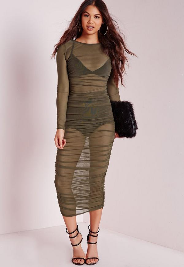 Mesh Ruched Midi Dress Khaki
