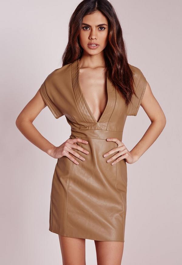 Faux Leather Bodycon Dress Tan
