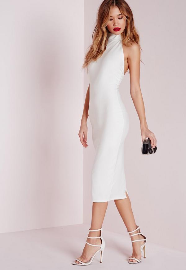 Crepe Racer High Neck Midi Dress White
