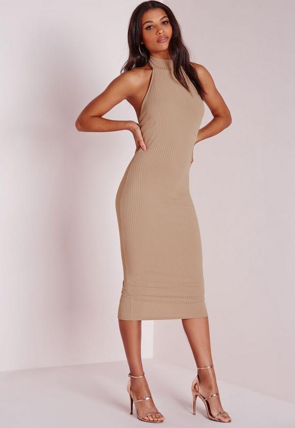 Ribbed Racer Choker Midi Dress Camel