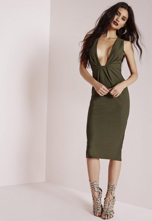 Crepe Sleeveless Plunge Bodycon Dress Khaki