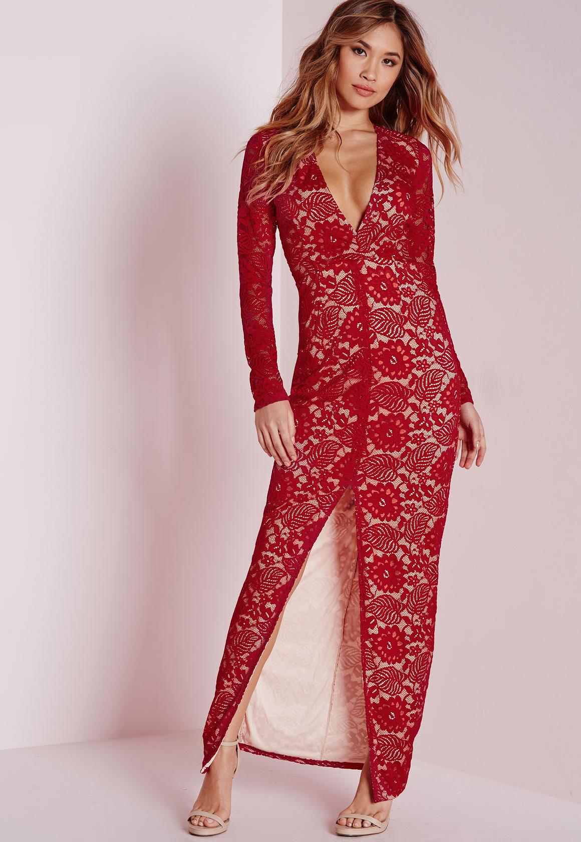 Lace Long Sleeve Maxi Dress Red | Missguided