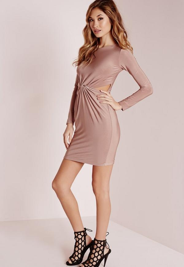 Slinky 3/4 Sleeve Knot Front Bodycon Dress Rose