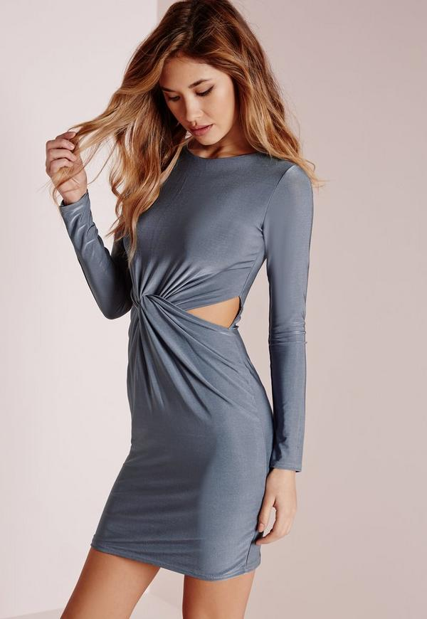 Slinky Long Sleeve Knot Front Bodycon Dress Blue