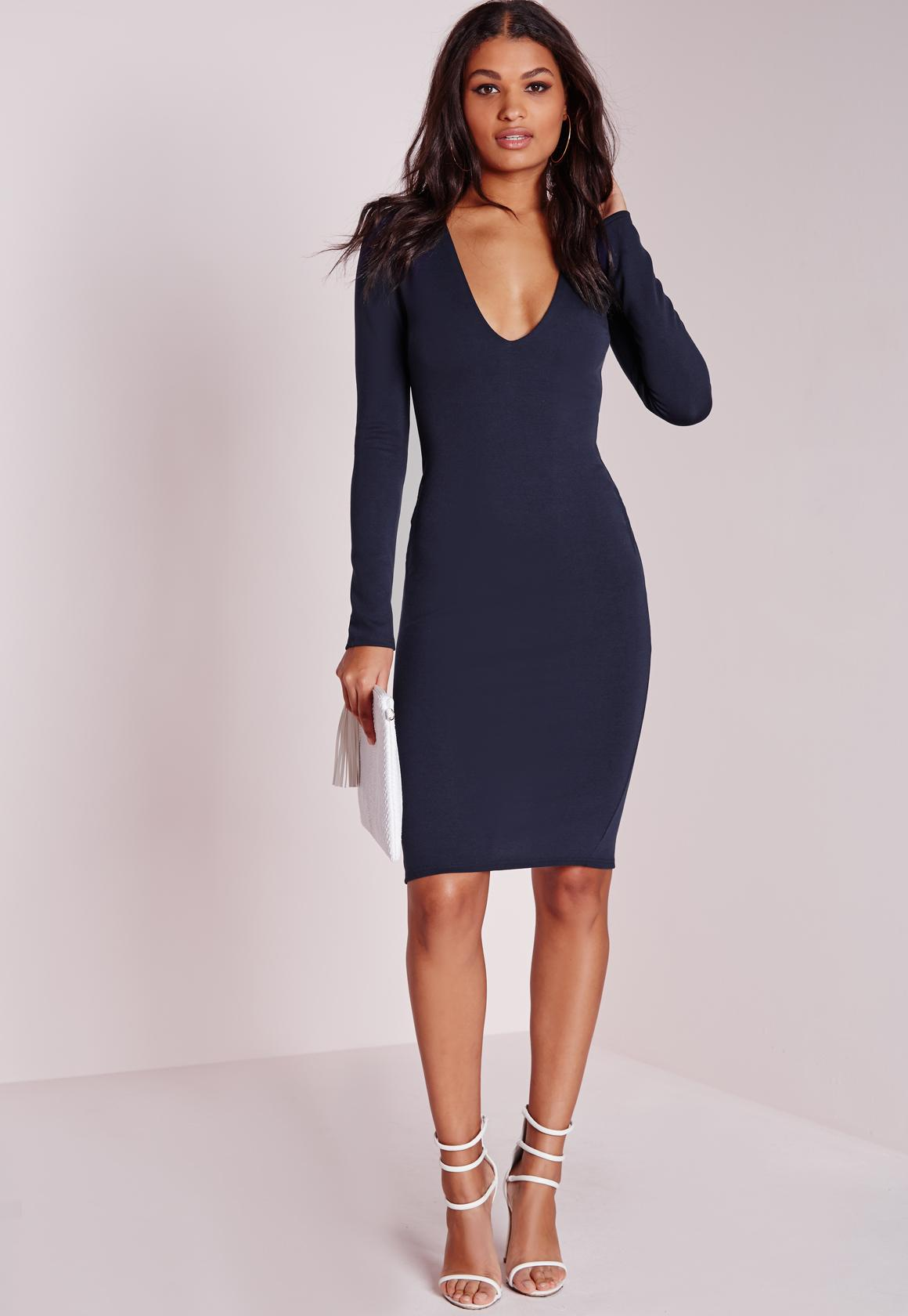 Ponte Long Sleeve Plunge Midi Dress Navy | Missguided Australia