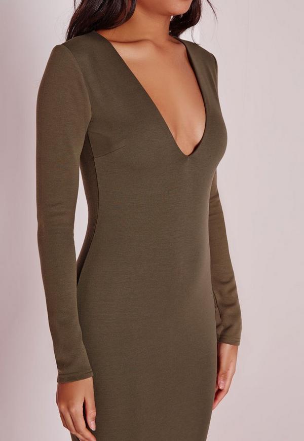 Long Sleeve Plunge Midi Dress