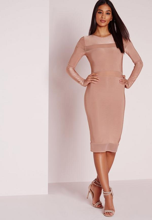 Long Sleeve Mesh Panel Midi Dress Rose