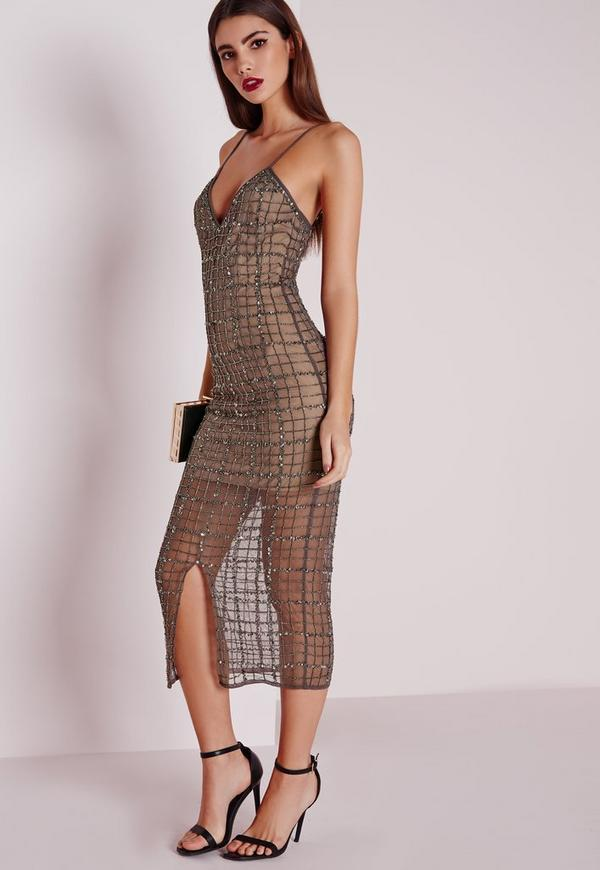 Premium Grid Embellished Midi Dress Grey