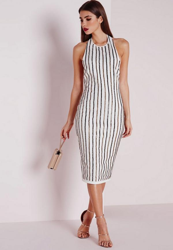 Premium Stripe Sequin Midi Dress Cream