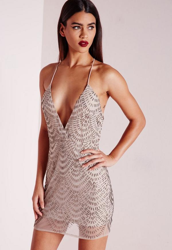 Premium Plunge Scallop Embellished Mini Dress Taupe