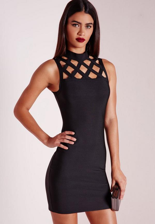 Premium Grid Yoke Bandage Bodycon Dress Black