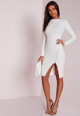 Long Sleeve Zip Detail Midi Dress White