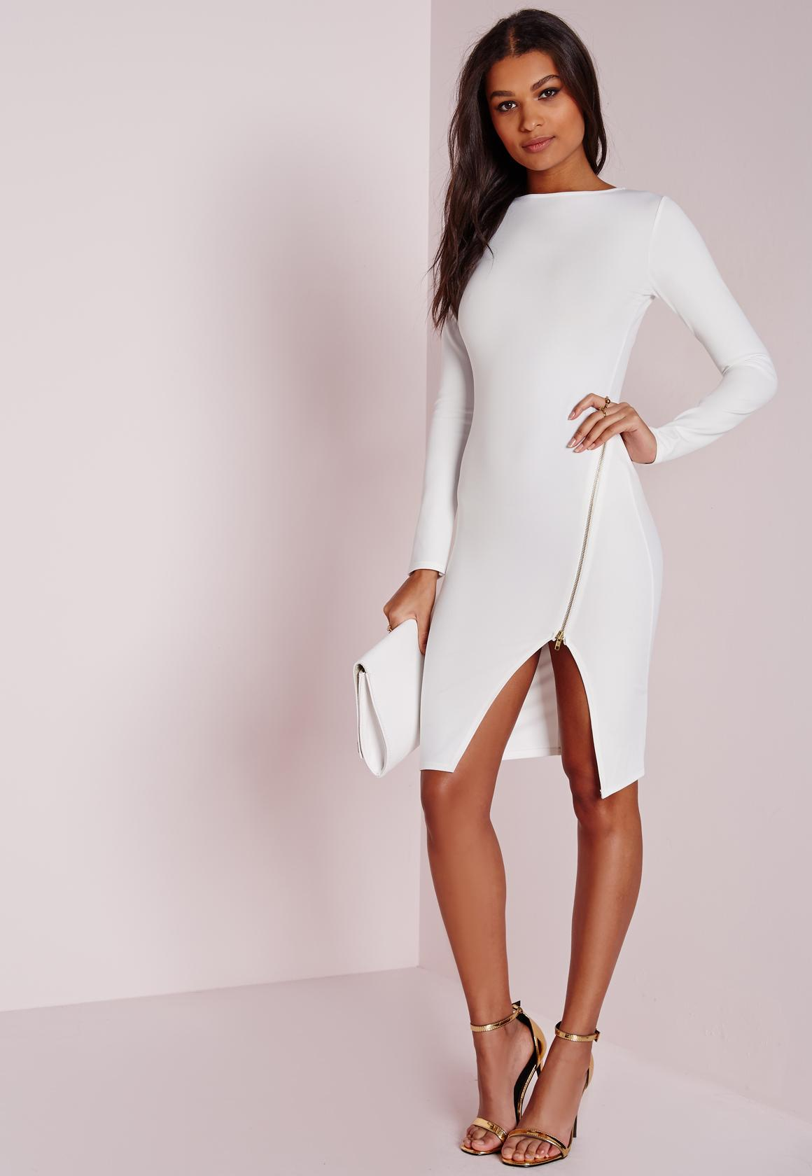 Long Sleeve Zip Detail Midi Dress White | Missguided